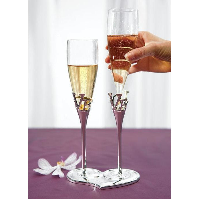 Silver Plated Love Stem Champagne Holder and Glass Flutes