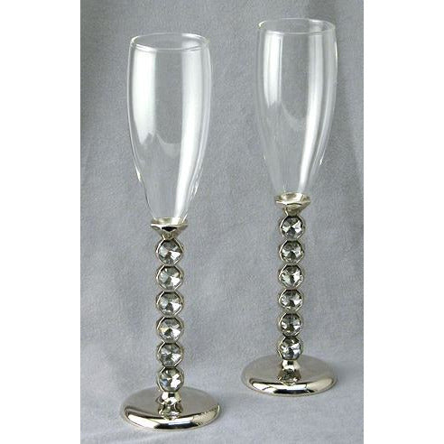 Silver Plated Stacked Crystal Glass Flutes