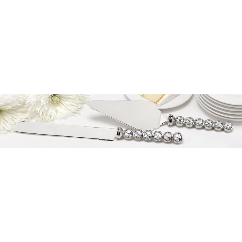 Silver Plated Stacked Crystals Cake Server Set