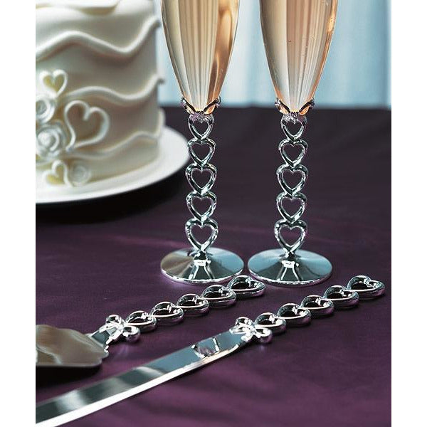 Silver Plated Stacked Hearts Cake Server Set