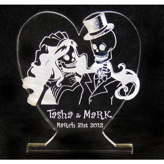 Skeleton Bride & Groom Light-Up Wedding Cake Topper