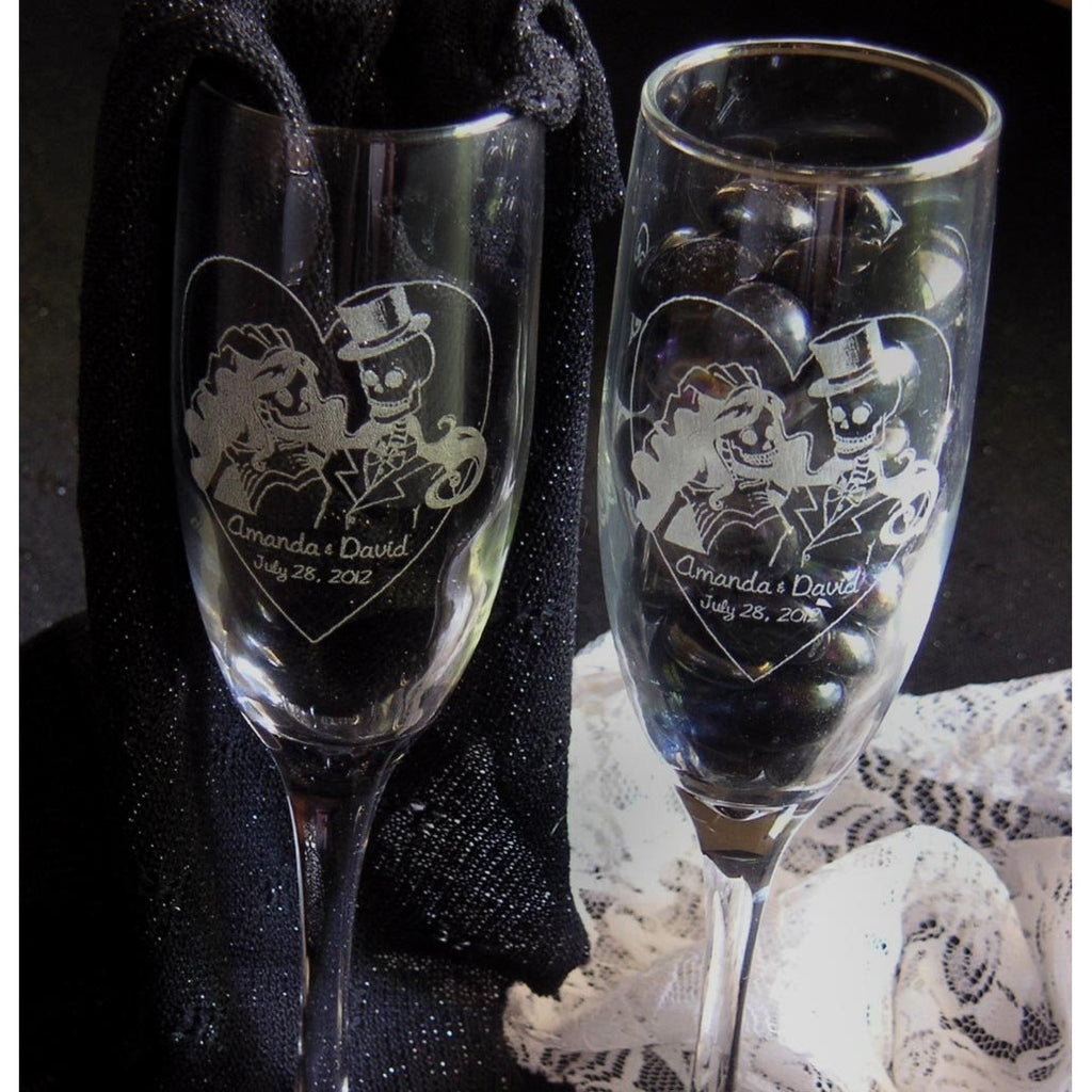 Skeleton Bride & Groom Toasting Wedding Champagne Glass Flutes (Pair)