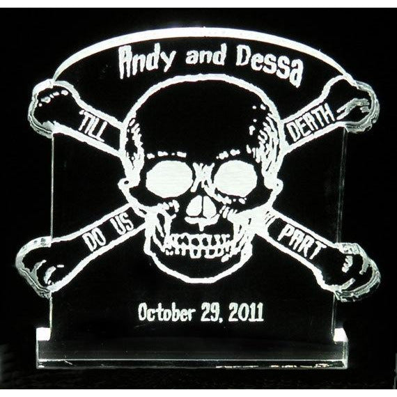 Skull and Crossbones -'Till Death Do Us Part Light-Up Wedding Cake Topper