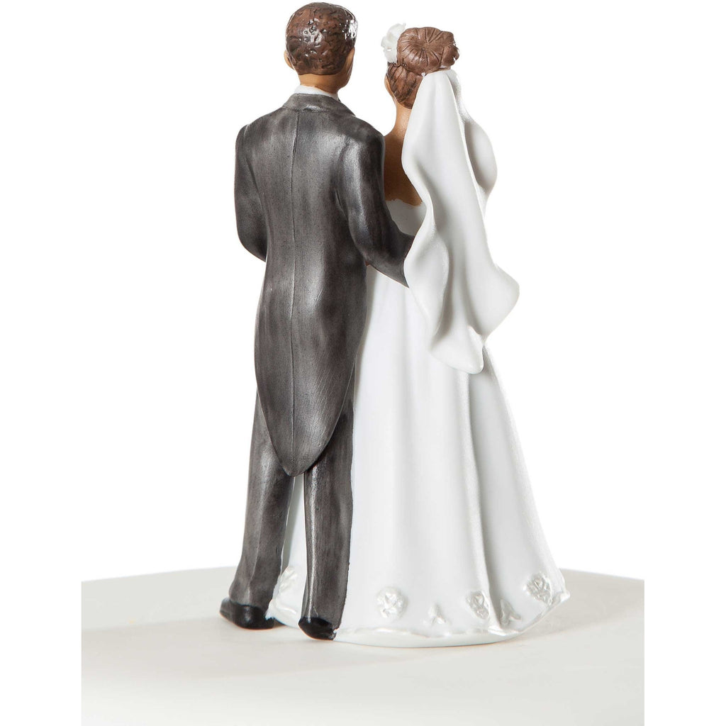 Small Elegant African American Wedding Cake Topper