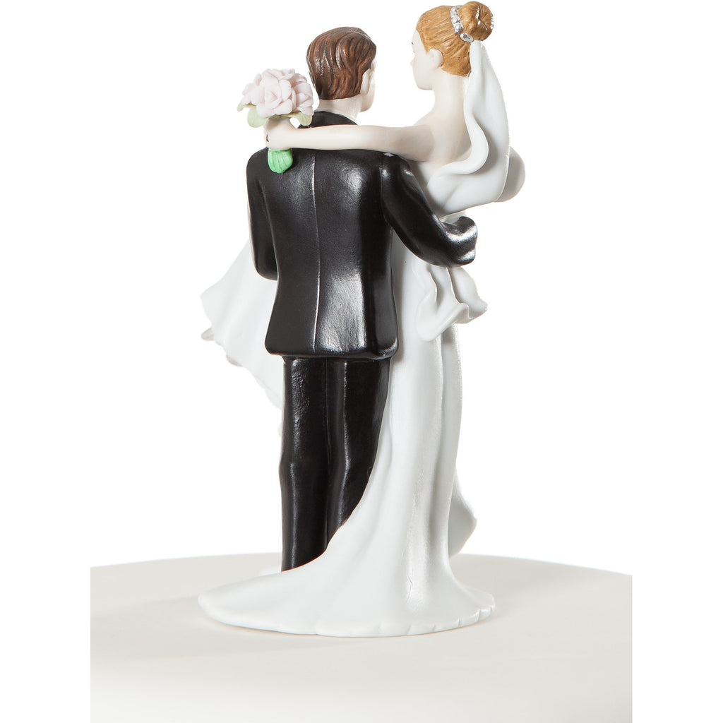 Small Groom Holding Bride Traditional Cake Topper Figurine