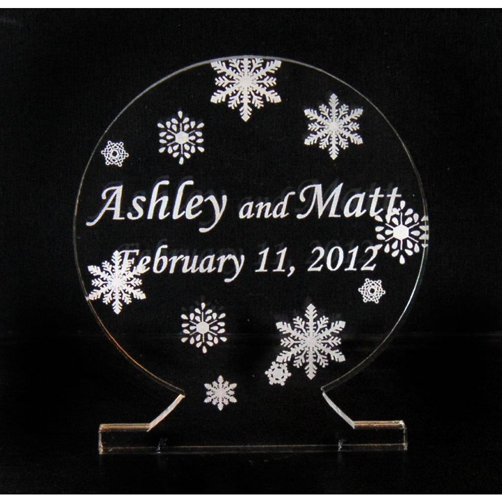 SnoGlobe Light-Up Wedding Cake Topper