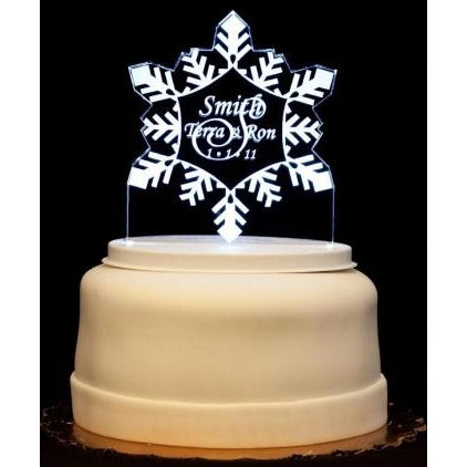 Snowflake Light-Up Wedding Cake Topper