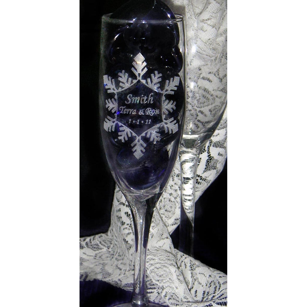 Snowflake Toasting Wedding Champagne Glass Flutes (Pair)