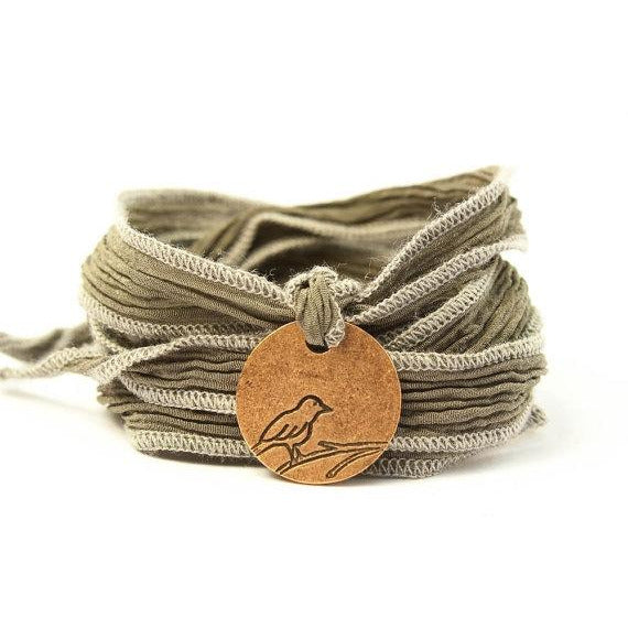 Sparrow Medallion Jewelry,Silk Wrap Bracelet