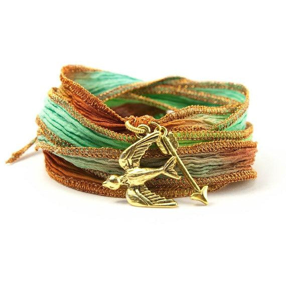 Sparrow and Arrow Jewelry, Silk Wrap Bracelet