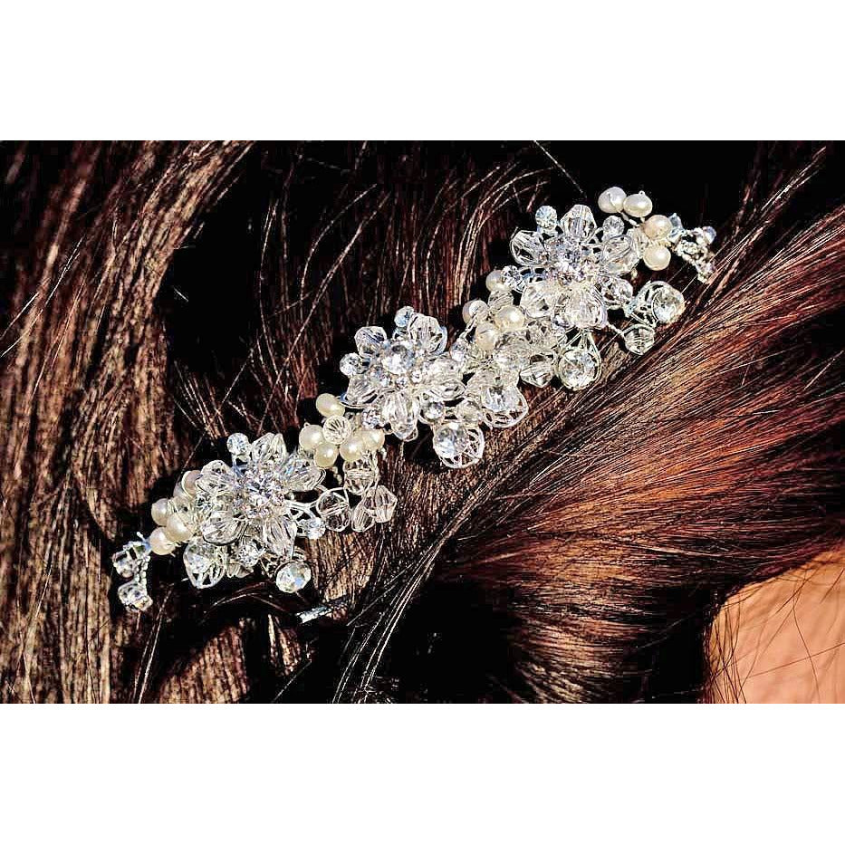 Spring Flowers Crystal Wedding Hair Comb