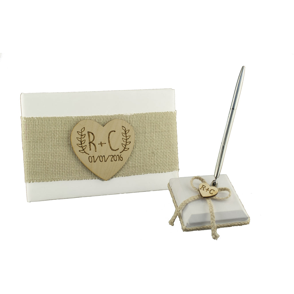 Personalized Rustic Wedding Guest Book and Pen Set