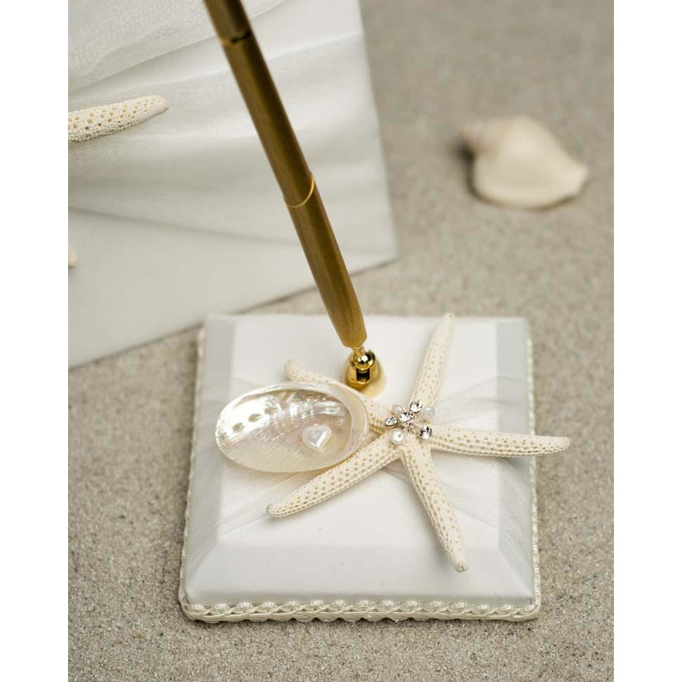 """Starfish & Shell"" Beach Wedding Guest Book and Pen Set"
