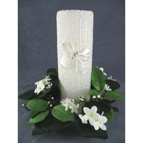 Stephanotis Wreath Candleholder with Wedding Unity Candle