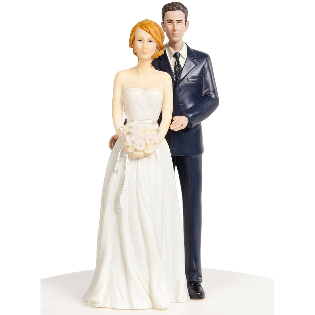 Stylish Contemporary Wedding Cake Topper - Bride and Groom in Navy Suit