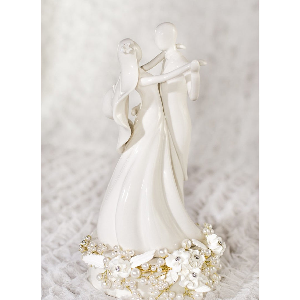 Stylized Dancing Rose Pearl Wedding Cake Topper