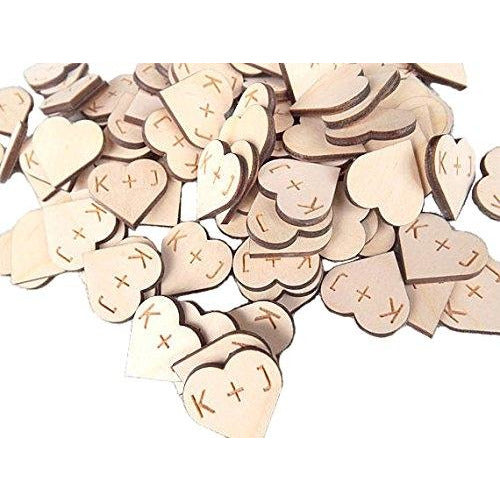 Rustic Wooden Hearts With Personalized Initials (100 pieces - 1 Inch) -  DIY Craft Wedding Decor Table Confetti Wood Heart