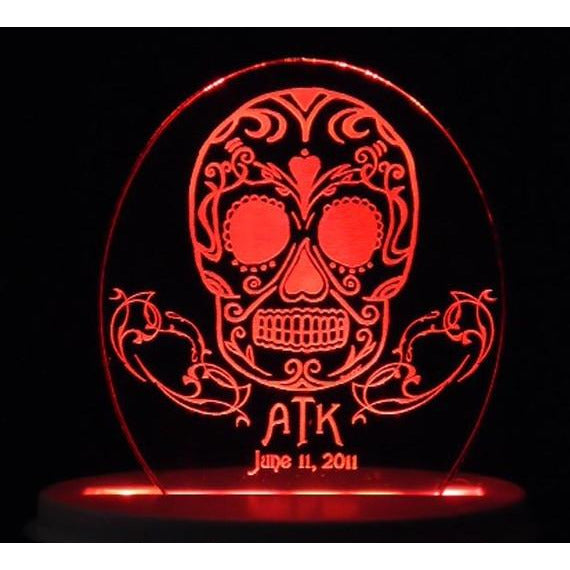 Sugar Skull Light-Up Wedding Cake Topper