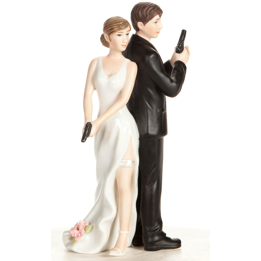 """Super Sexy Spy"" Bride and Groom Cake Topper Figurine"