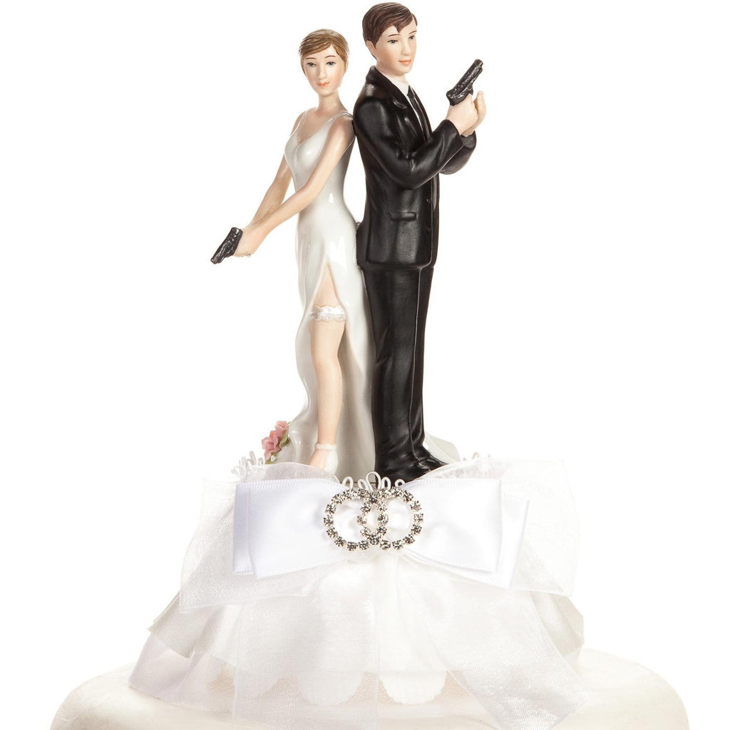 Super Sexy Spy Rhinestone Wedding Rings Cake Topper