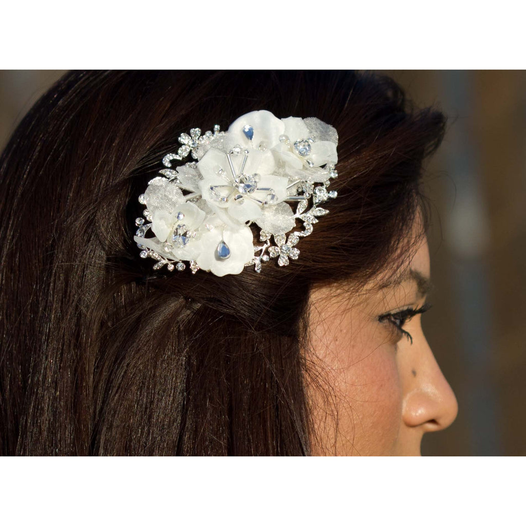 Sweet Chiffon and Crystals Flower Comb