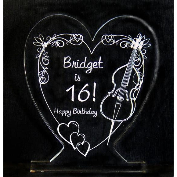 Sweet Heart Cello Light-Up Caketopper