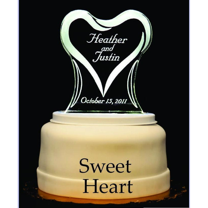 Sweet Heart Light-Up Wedding Cake Topper