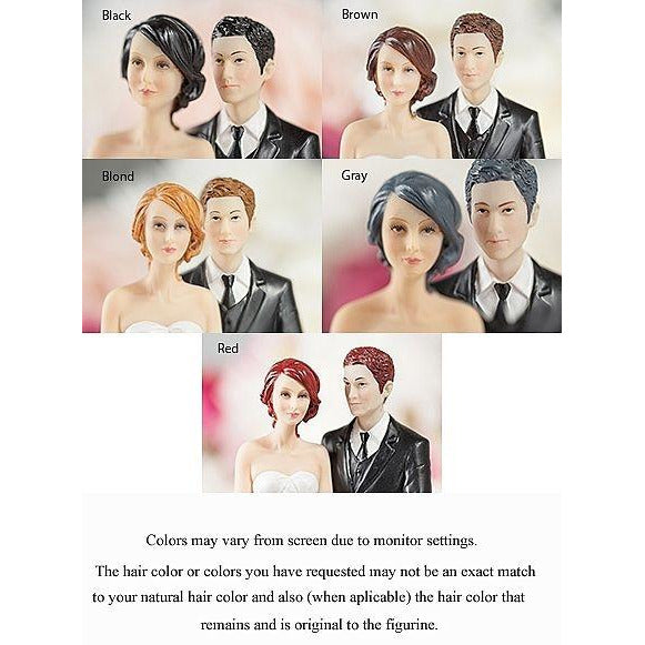 """Taking a Gamble"" Interracial Las Vegas Wedding Cake Topper - Custom Hair Colors!"