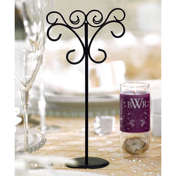 Tall Ornamental Wire Wedding Stationery Holders in Matte Black - Set of 6