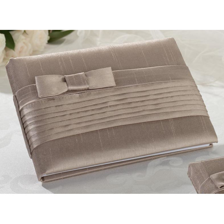 Taupe Pleated Silk Guestbook