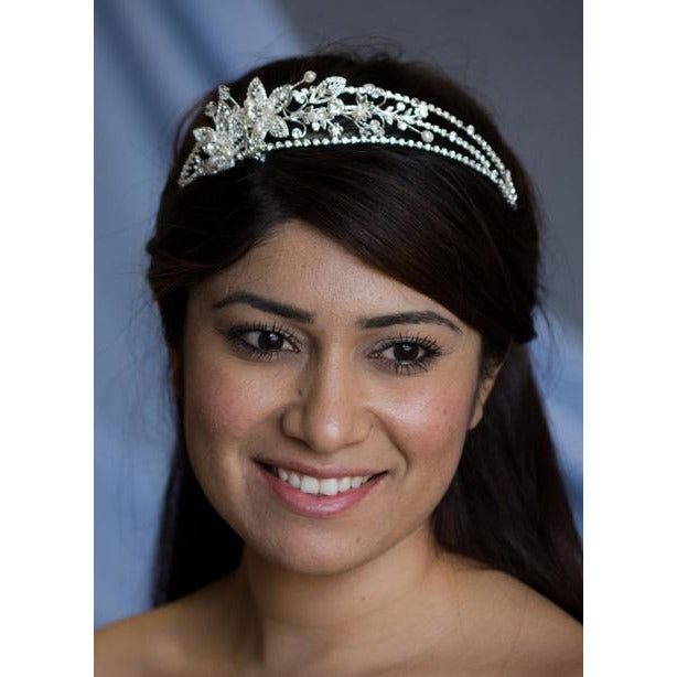 Three Strand Crystal Flowers Tiara