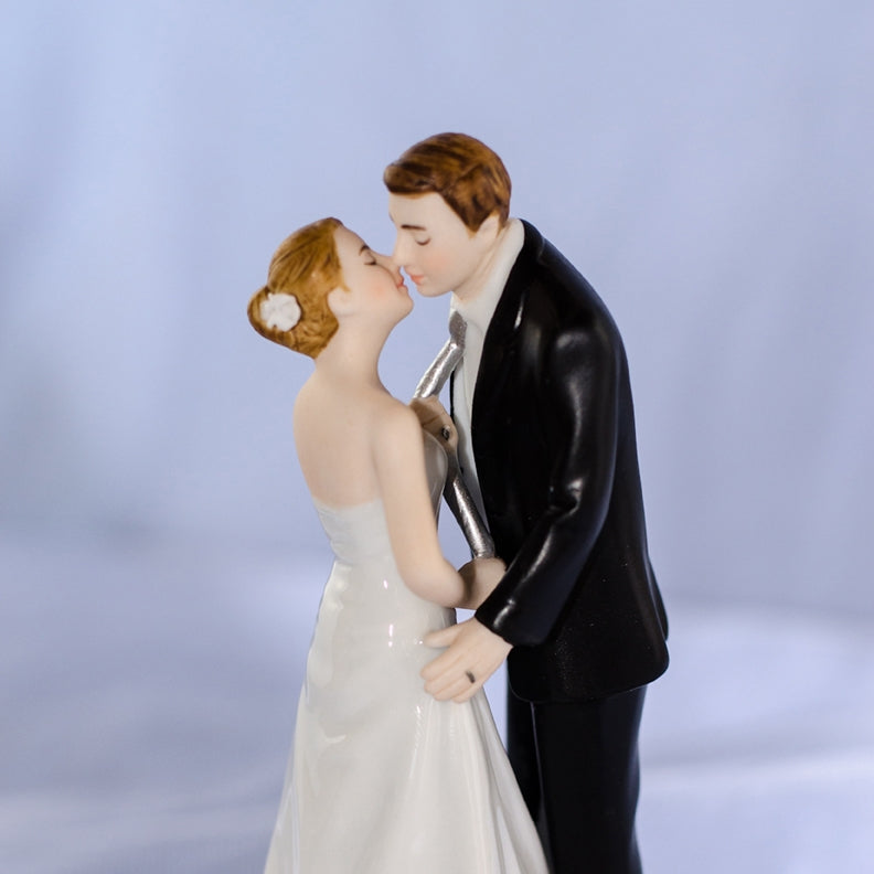 """Tie(ing) the Knot"" Rose Pearl Wedding Cake Topper"