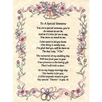 Personalized To A Special Someone Poetry Wedding Handkerchief