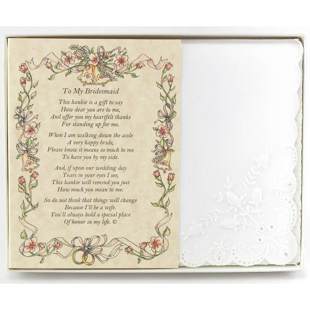 Personalized To My Bridesmaid Poetry Wedding Handkerchief Gift
