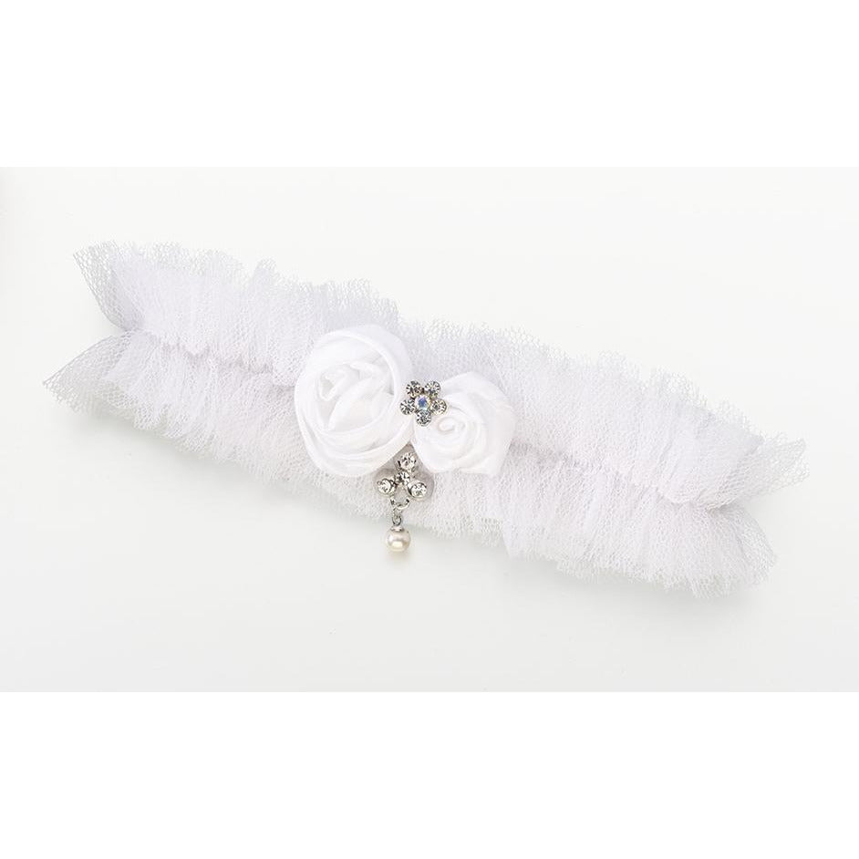 Tulle Garter w/Jewel-White