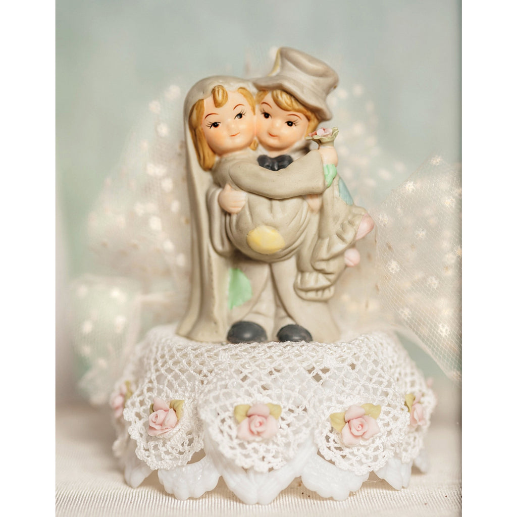 Vintage Applique Cute Hobo Wedding Cake Topper