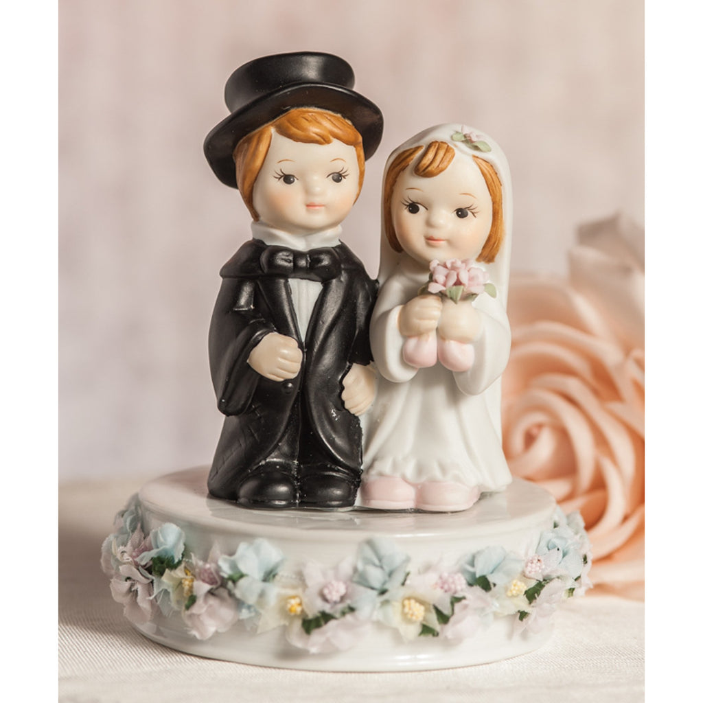 Vintage Pastel Flower Cute Child Wedding Cake Topper