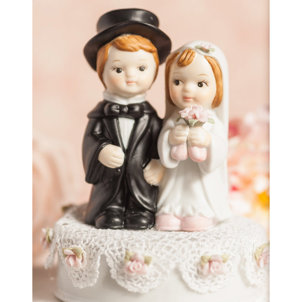 Vintage Applique Cute Child Wedding Cake Topper