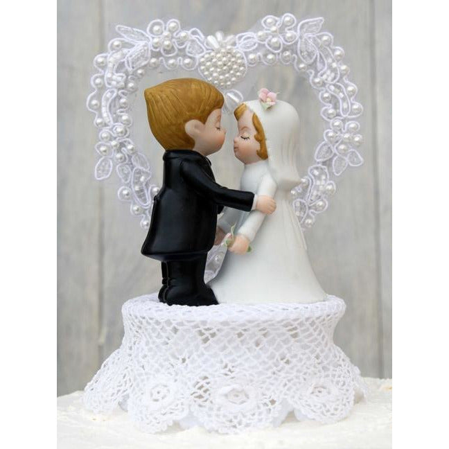 Vintage Applique Wedding Cake Topper - IVORY BASE ONLY