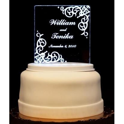 Vintage Flourish Square Light-Up Wedding Cake Topper