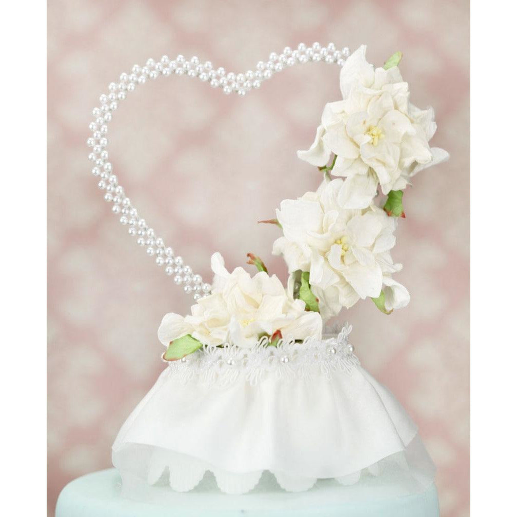 Vintage Paper Gardenia Cake Topper With Pearl Heart