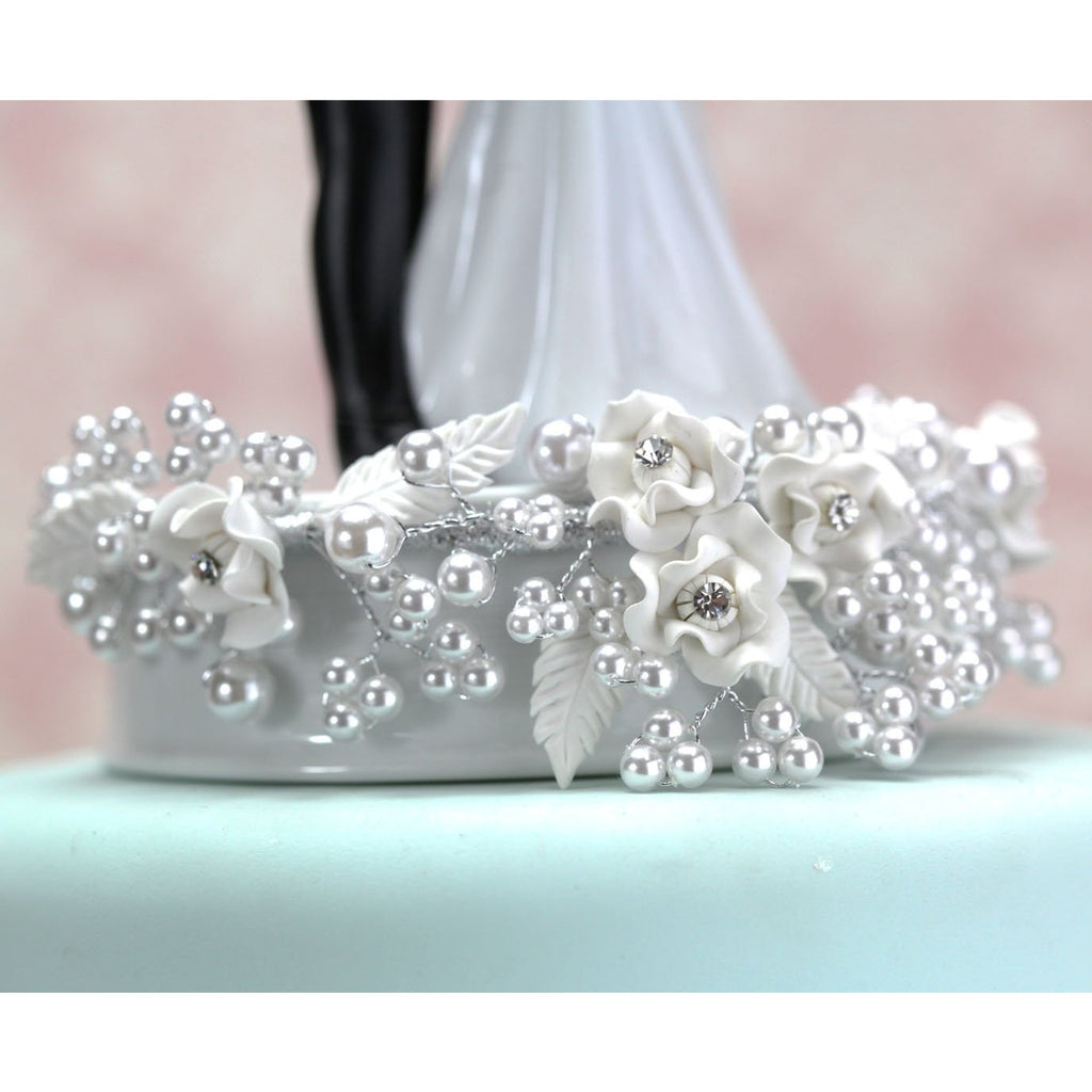 Vintage Rose Pearl and Dove Wedding Cake Topper