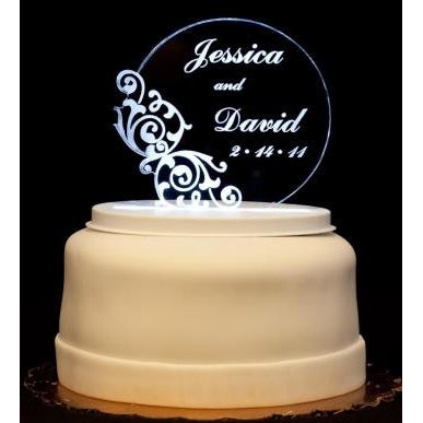 Vintage Round Light-Up Wedding Cake Topper