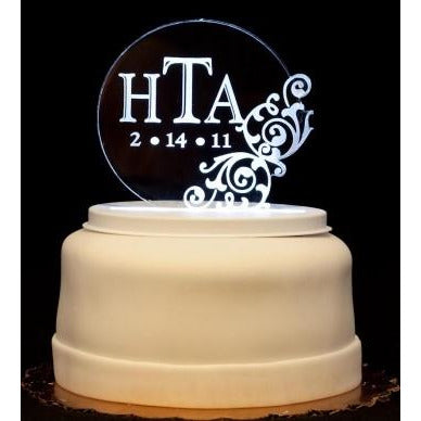 Vintage Round Monogram Light-Up Wedding Cake Topper