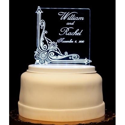 Vintage Square Light-Up Wedding Cake Topper