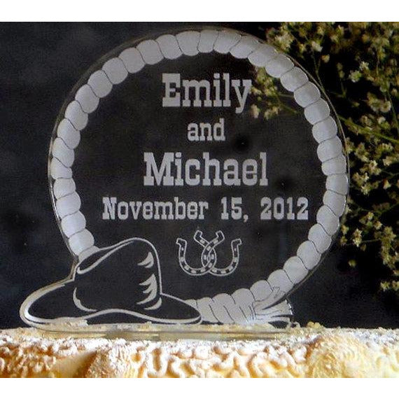 WESTERN Wedding Light-Up Cake Topper