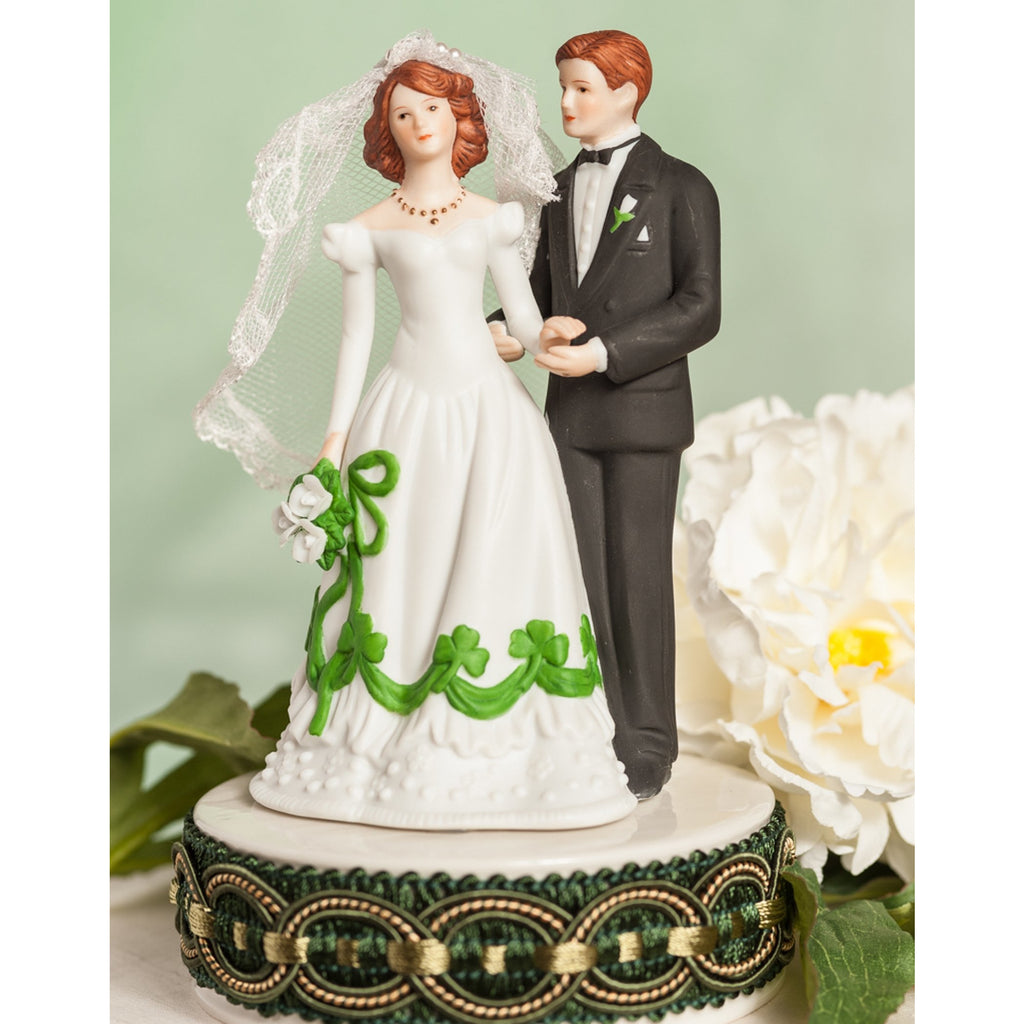 Irish Bride and Groom Shamrock Accent Wedding Cake Topper