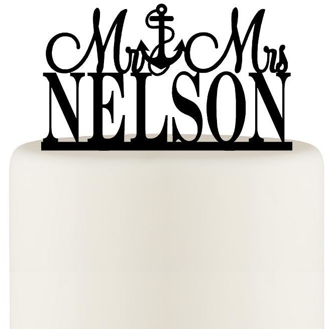 Wedding Cake Topper Mr and Mrs Anchor Design Personalized with YOUR Last Name