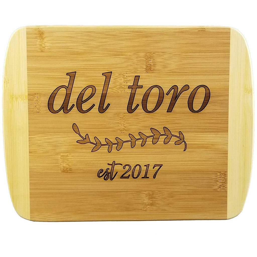 Italicized Last Name and Wedding Date Wooden Cutting Board (Thick) Custom Wedding Gift Engraved, Serving Tray | Meat, Vegetables, Cheese | Personalized Housewarming Gift, Shower