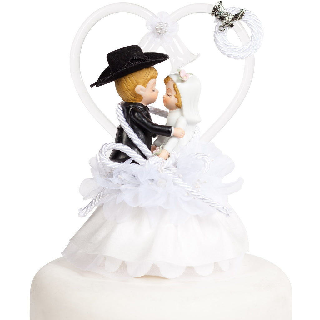 Western Cowboy Lasso Wedding Cake Topper